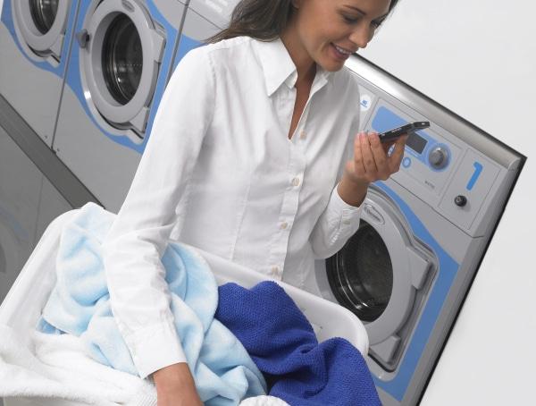 lady holding laundry